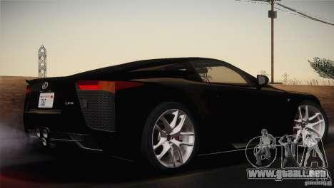 Lexus LFA (US-Spec) 2011 para GTA San Andreas left