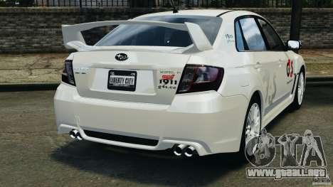 Subaru Impreza WRX STi 2011 G4S Estonia para GTA 4 vista hacia atrás