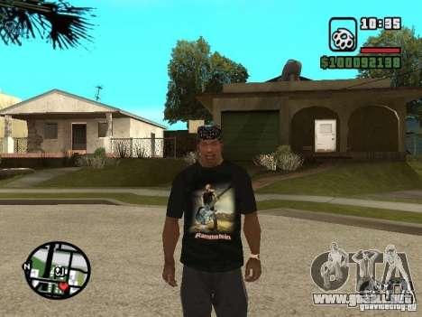 Rammstein camiseta v1 para GTA San Andreas tercera pantalla