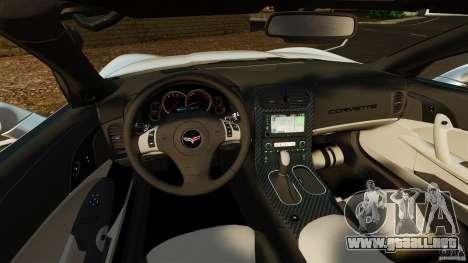 Chevrolet Corvette C6 2010 Convertible para GTA 4 vista hacia atrás