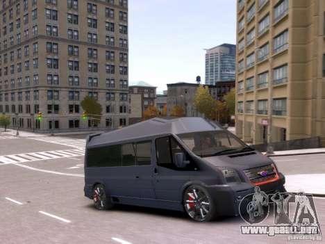 Ford Transit Sport Edition RV 2013 para GTA 4 vista hacia atrás