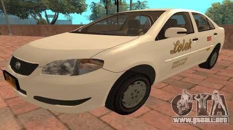 Toyota Corolla - LOLEK TAXI para GTA San Andreas