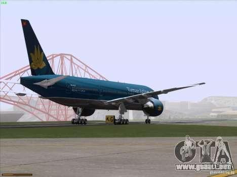 Boeing 777-2Q8ER Vietnam Airlines para vista inferior GTA San Andreas