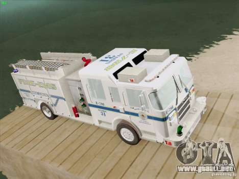 Pierce Pumpers. B.C.F.D. FIRE-EMS para GTA San Andreas vista hacia atrás