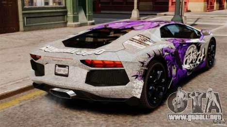 Lamborghini Aventador LP700-4 2012 Galag Gumball para GTA 4 Vista posterior izquierda