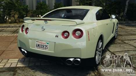 Nissan GT-R 2012 Black Edition para GTA 4 Vista posterior izquierda