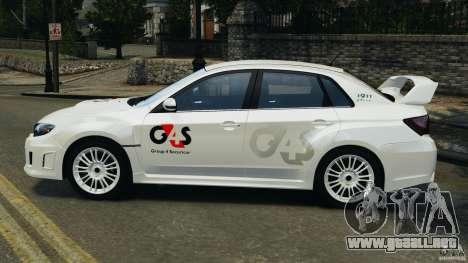 Subaru Impreza WRX STi 2011 G4S Estonia para GTA 4 visión correcta