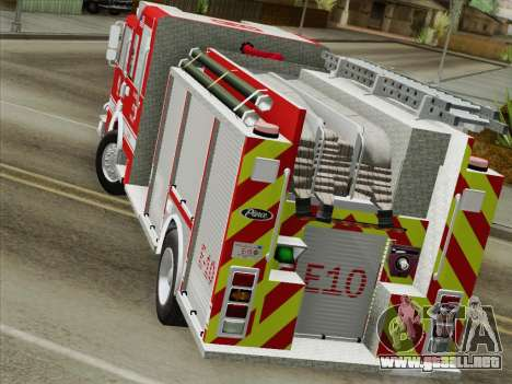 Pierce Saber LAFD Engine 10 para visión interna GTA San Andreas
