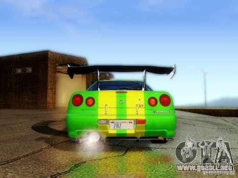 Nissan Skyline GT-R R34 para visión interna GTA San Andreas