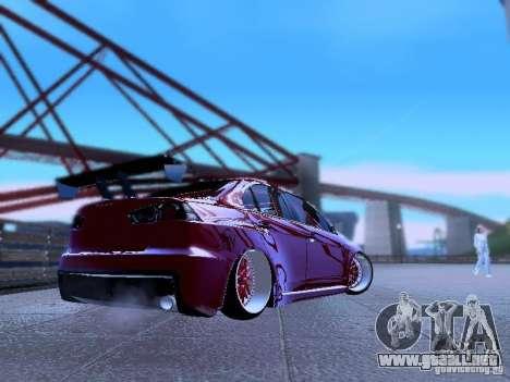 Mitsubishi Lancer Evolution X v2 Make Stance para GTA San Andreas vista posterior izquierda