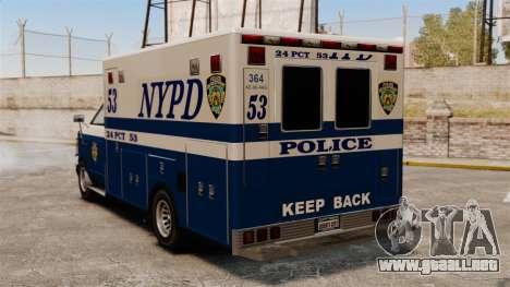 Nueva policía van para GTA 4 Vista posterior izquierda