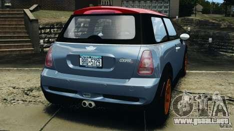 Mini Cooper S v1.3 para GTA 4 Vista posterior izquierda