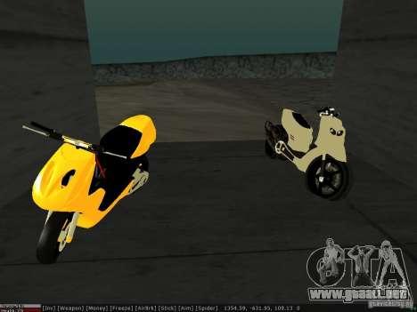Yamaha Aerox para visión interna GTA San Andreas
