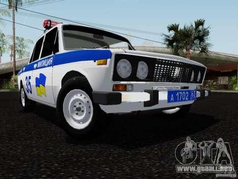 Policía 2106 VAZ para GTA San Andreas vista hacia atrás