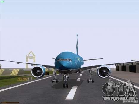 Boeing 777-2Q8ER Vietnam Airlines para GTA San Andreas vista hacia atrás