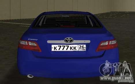 Toyota Camry 2007 para GTA Vice City vista posterior