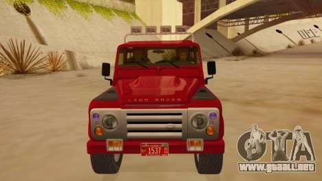 Land Rover Defender para visión interna GTA San Andreas