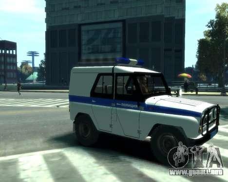 UAZ 31512 policía para GTA 4 Vista posterior izquierda