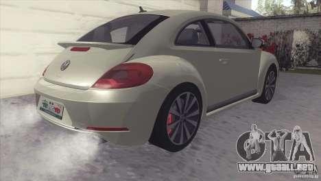 Volkswagen Beetle Turbo 2012 para GTA San Andreas vista posterior izquierda