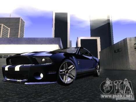 Ford Mustang Shelby GT500 para GTA San Andreas vista posterior izquierda