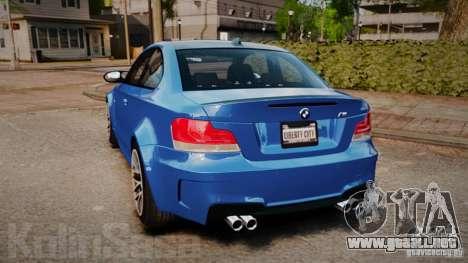 BMW 1M 2011 Carbon para GTA 4 Vista posterior izquierda
