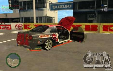 Nissan Skyline R34 Hell Energy para GTA San Andreas vista posterior izquierda