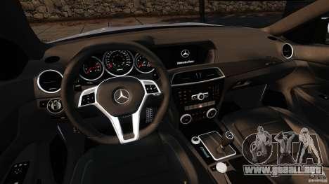 Mercedes-Benz C 63 AMG para GTA 4 vista hacia atrás