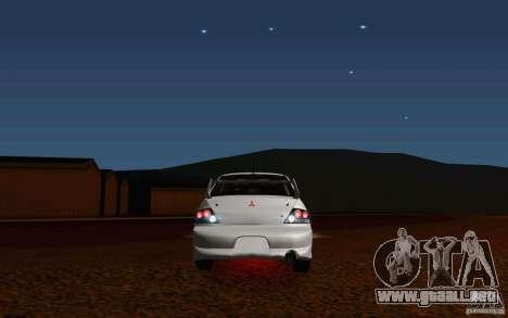 Mitsubishi Lancer Evo VIII GSR para GTA San Andreas vista hacia atrás