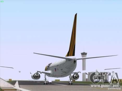 Boeing 737-800 Tiger Airways para GTA San Andreas vista hacia atrás