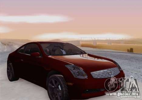Infiniti G35 para la vista superior GTA San Andreas
