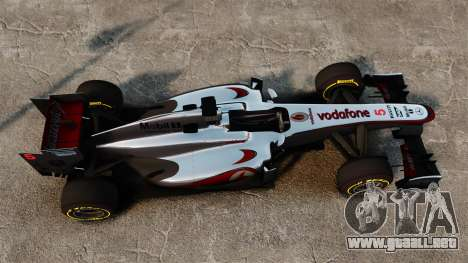 McLaren MP4-28 para GTA 4 vista hacia atrás
