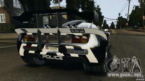 McLaren F1 ELITE Police para GTA 4 Vista posterior izquierda