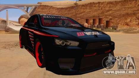 Mitsubishi Lancer Evolution X Pro Street para GTA San Andreas vista hacia atrás