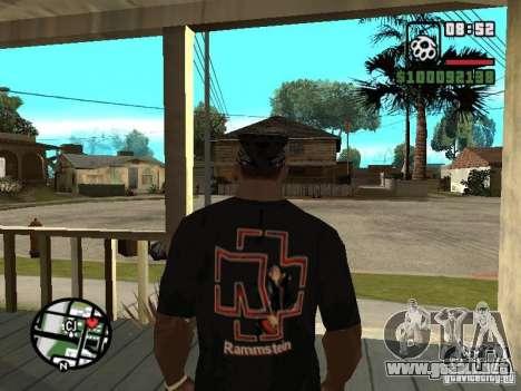 Rammstein camiseta v1 para GTA San Andreas segunda pantalla