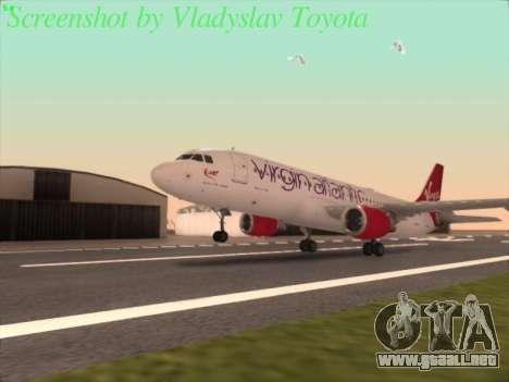 Airbus A320-211 Virgin Atlantic para GTA San Andreas vista posterior izquierda
