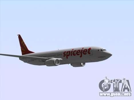 Boeing 737-8F2 Spicejet para visión interna GTA San Andreas