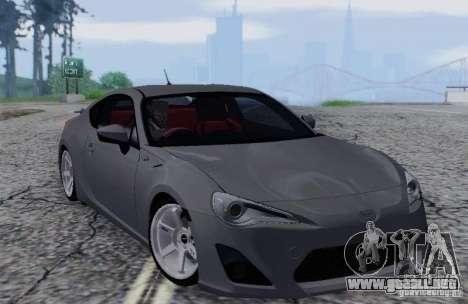 Toyota GT86 para visión interna GTA San Andreas