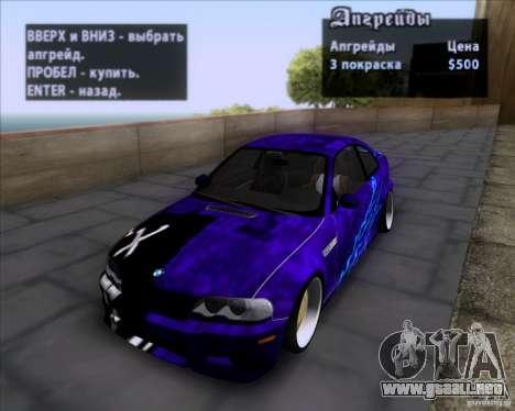 BMW 3-er E46 Dope para vista inferior GTA San Andreas
