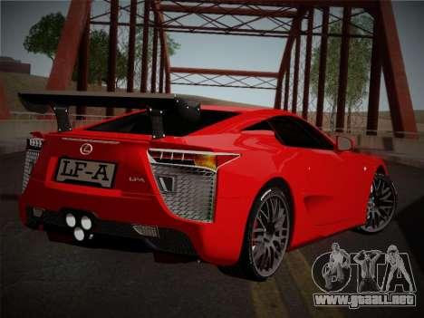 Lexus LFA Nürburgring Edition para GTA San Andreas vista posterior izquierda