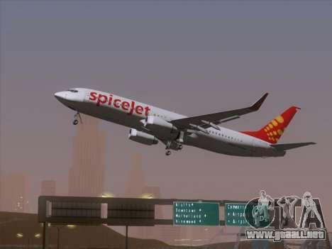 Boeing 737-8F2 Spicejet para GTA San Andreas vista hacia atrás