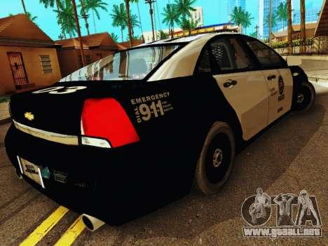 Chevrolet Caprice 2011 Police para la visión correcta GTA San Andreas