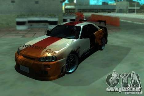 Nissan Skyline GT-R34 para GTA San Andreas vista hacia atrás