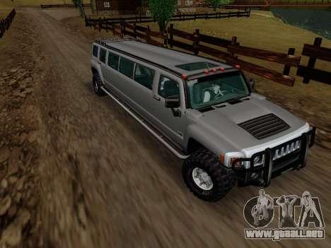 Hummer H3 Limousine para GTA San Andreas vista hacia atrás