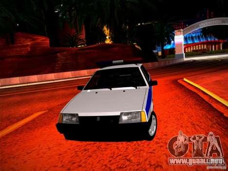 Policía Vaz 2109 para GTA San Andreas vista hacia atrás