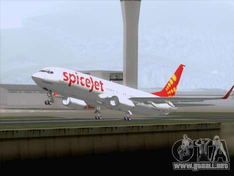 Boeing 737-8F2 Spicejet para vista lateral GTA San Andreas