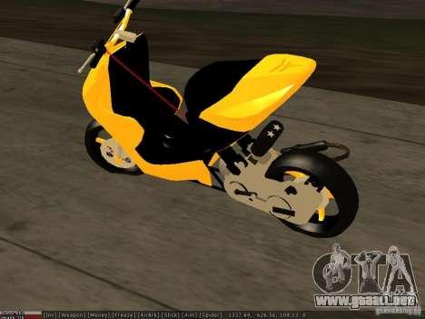 Yamaha Aerox para GTA San Andreas vista posterior izquierda