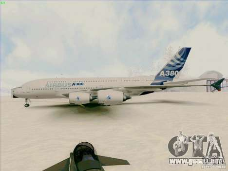 Airbus A380-800 para GTA San Andreas vista posterior izquierda