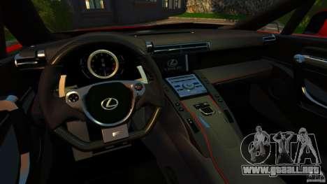 Lexus LFA 2012 Nurburgring Edition para GTA 4 vista hacia atrás