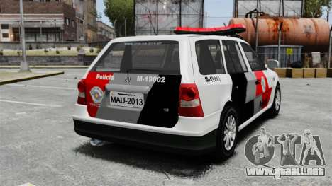 Volkswagen Parati G4 PMESP ELS para GTA 4 Vista posterior izquierda