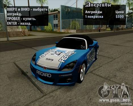 Saturn Sky Red Line 2007 v1.0 para la visión correcta GTA San Andreas